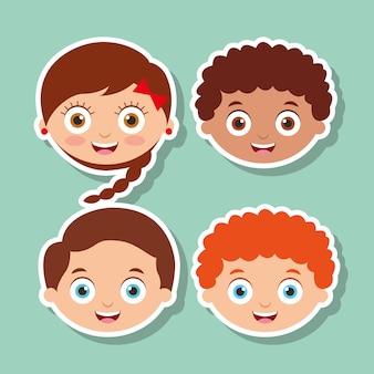 Grupo crianças pequenas enfrentam expressão sorridente