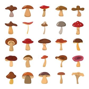 Grupo da ilustração do vetor dos cogumelos dos desenhos animados.