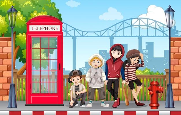 Grupo de adolescente de moda urbana