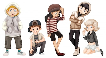 Grupo de adolescentes felizes