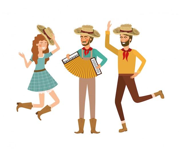 Grupo de agricultores de pessoas com instrumentos musicais
