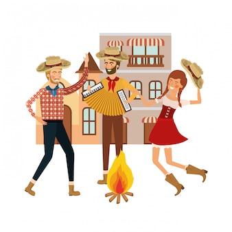 Grupo de agricultores de pessoas dançando