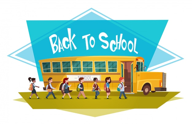 Grupo de alunos caminhando para ônibus amarelo, andar de volta à escola