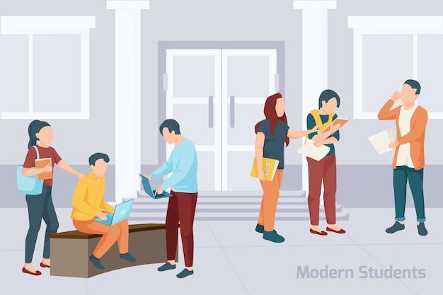 Grupo de alunos com ilustração de livros e dispositivos eletrônicos