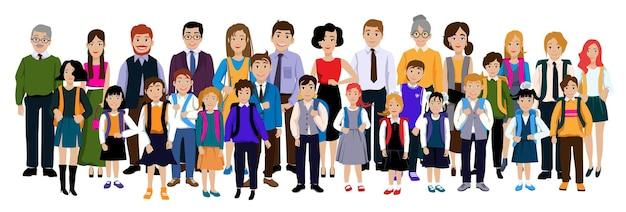 Grupo de alunos com pais e professores.