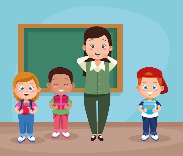 Grupo de alunos e professor em sala de aula