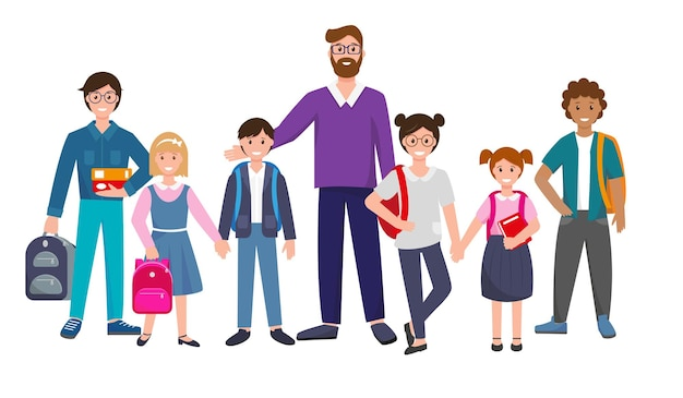 Grupo de alunos em pé e professores crianças com livros e mochilas escolares