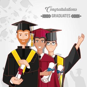 Grupo de alunos graduados caracteres