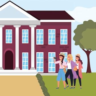 Grupo de alunos milenares no campus