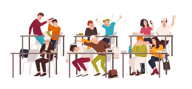 Grupo de alunos ou alunos sentados em carteiras na sala de aula e demonstrando mau comportamento - brigando, comendo, dormindo, navegando na internet no smartphone durante a aula. ilustração em vetor plana dos desenhos animados.