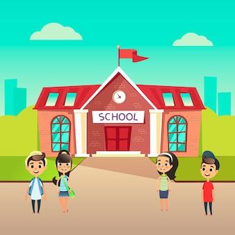 Grupo de alunos vai para a escola juntos
