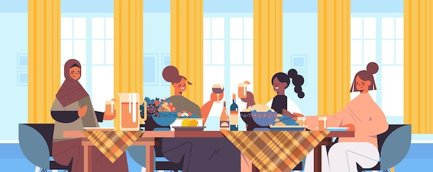 Grupo de amigas de raça mista, sentadas à mesa, discutindo durante o jantar no clube feminino, apoiando-se umas às outras, ilustração vetorial retrato horizontal interior