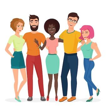 Grupo de amigos abraçando jovem sorridente. conceito de ilustração de amizade de alunos