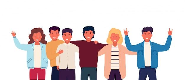 Grupo de amigos abraçar e ficar juntos