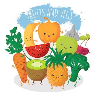 Grupo de amigos engraçados da fruta e verdura. personagens com rostos sorridentes felizes