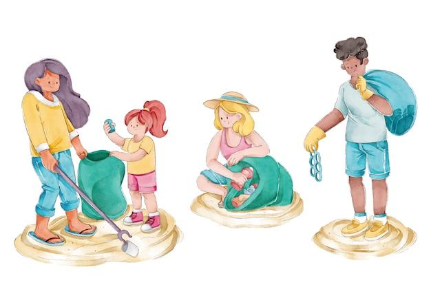Grupo de amigos limpando ilustração de praia