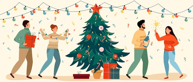 Grupo de amigos ou família está celebrando o ano novo e o natal e se divertindo. festa de natal.
