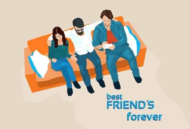 Grupo de amigos se sentar no sofá tirar foto de selfie