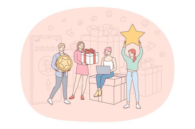 Grupo de amigos segurando estrelas e presentes