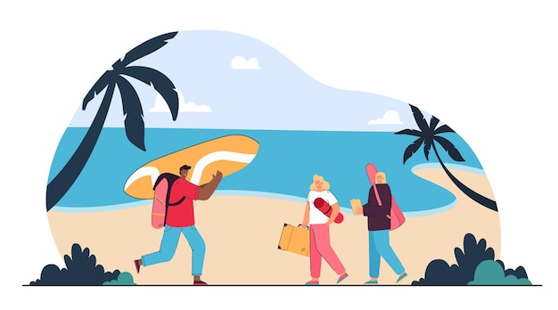 Grupo de amigos vai relaxar na praia. ilustração plana