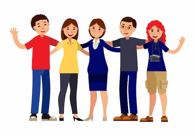 Grupo de amizade de pessoas abraçando juntos