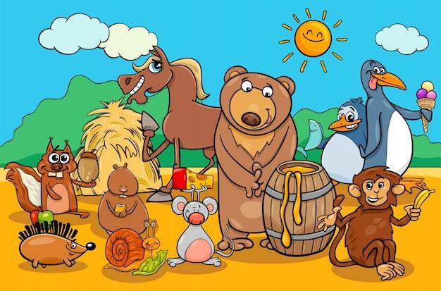 Grupo de animação de animais e alimentos