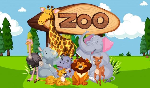 Grupo de animais com sinal de zoológico