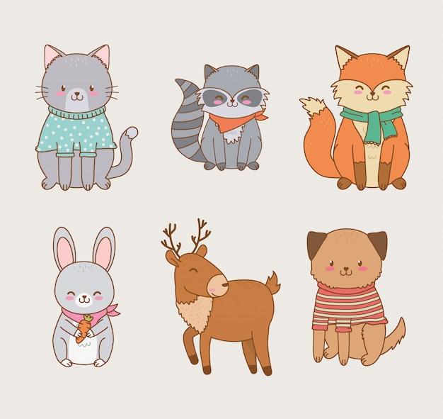 Grupo de animais da floresta