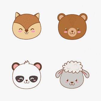 Grupo de animais de cabeças de floresta