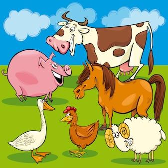 Grupo de animais de fazenda dos desenhos animados