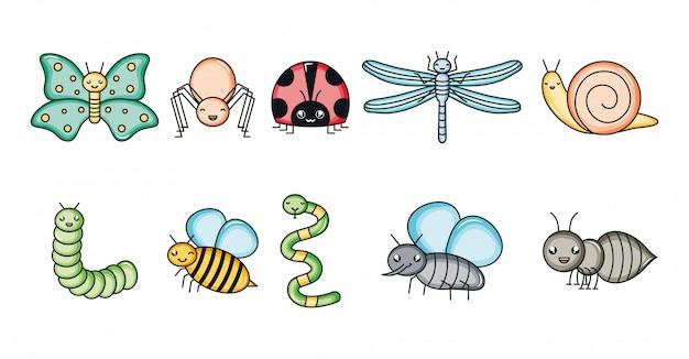 Grupo de animais de jardim personagens kawaii