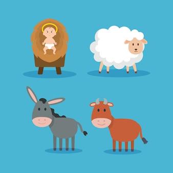Grupo de animais e jesus bebê manjedoura