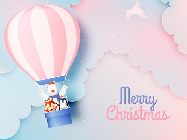 Grupo de animais festa com design de personagens muito fofos em estilo pastel para celebrar e feliz natal