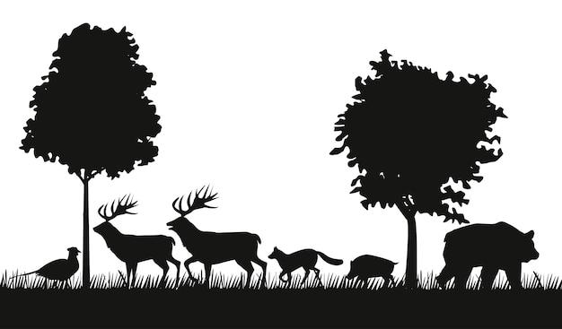 Grupo de animais figuras silhuetas na cena da selva