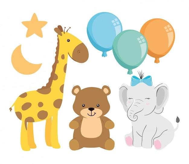 Grupo de animais fofos com decoração