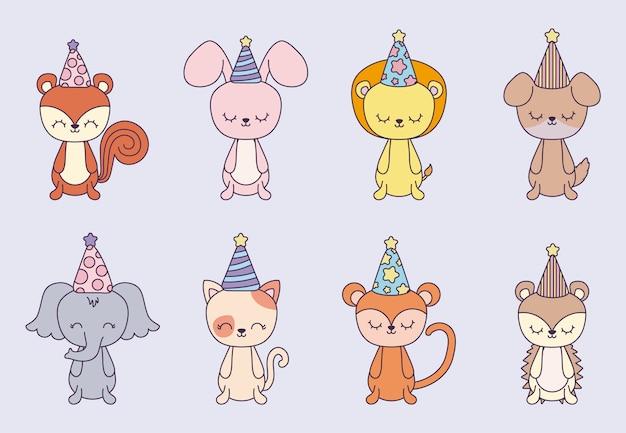 Grupo de animais fofos com festa de chapéu