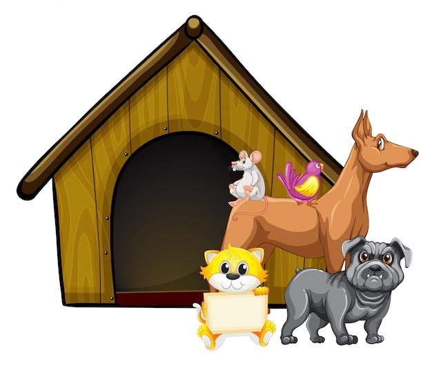 Grupo de animais fofos com personagem de desenho animado de casa de cachorro