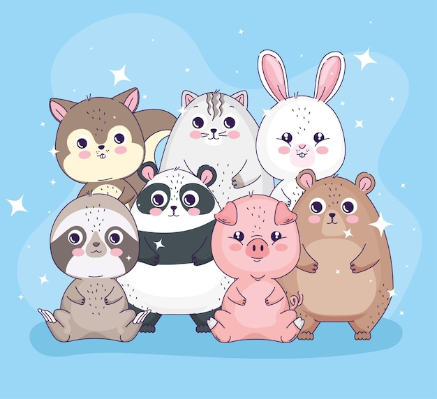Grupo de animais fofos posando