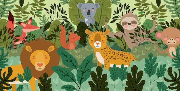 Grupo de animais na cena da floresta