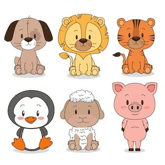 Grupo de animais pequenos e fofos