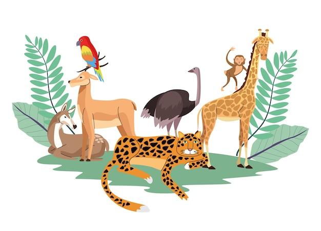 Grupo de animais selvagens com cena de plantas de folhas