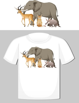 Grupo de animais selvagens desenhando para camiseta