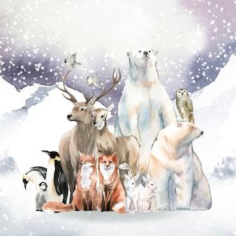 Grupo de animais selvagens na neve desenhado em aquarela