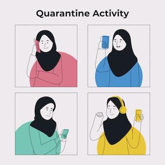 Grupo de atividade de garota hijab com gadget em quarentena