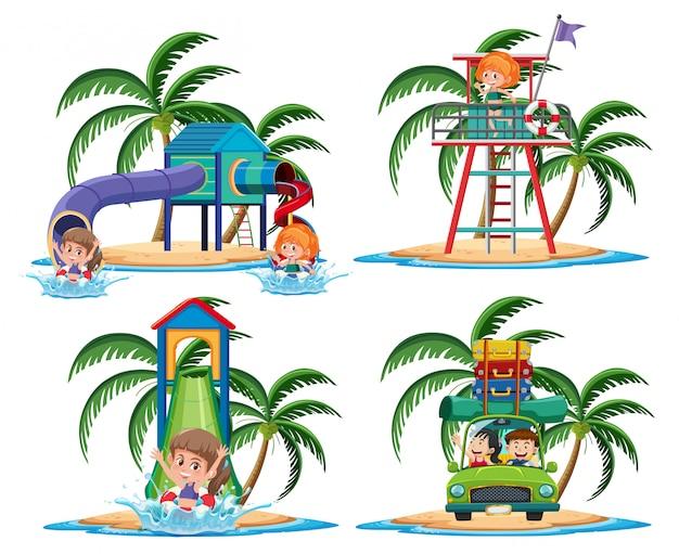 Grupo de atividades no personagem de desenho animado ilha tropical em fundo branco