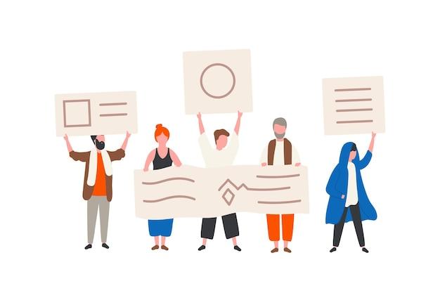 Grupo de ativistas políticos ou manifestantes segurando faixas ou cartazes