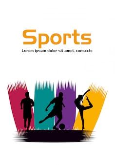 Grupo de atletas praticando silhuetas de esportes