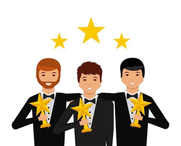 Grupo de atores com ícone de desenhos animados de troféus de estrelas
