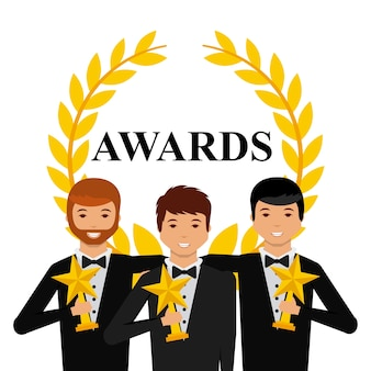 Grupo de atores com troféus de estrelas