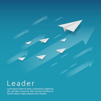 Grupo de avião de papel voando com seta